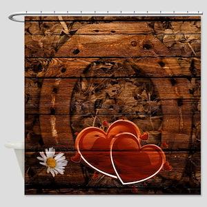 rustic barn wood horseshoe Shower Curtain