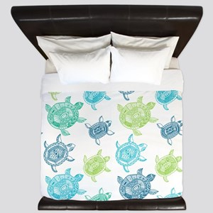 Blue and Green Turtles King Duvet
