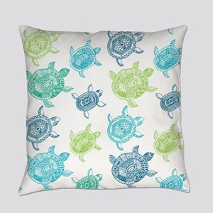 Blue and Green Turtles Everyday Pillow