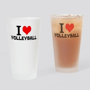 I Love Volleyball Drinking Glass