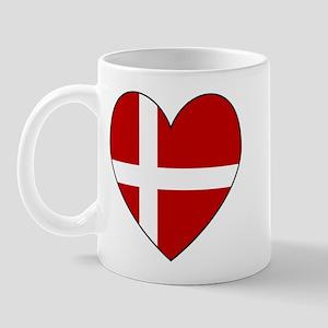 Danish Flag Heart Mug