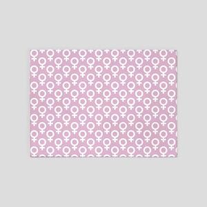 Large White Venus Symbols on Pink 5'x7'Area Rug