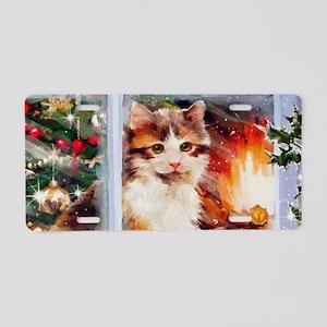 Christmas Kitten Aluminum License Plate