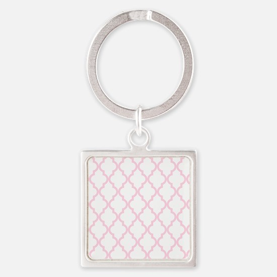 Pink, Baby: Quatrefoil Moroccan Pa Square Keychain