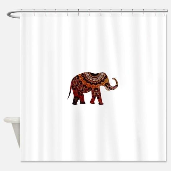 Yellow & Orange Metallic Elephant Shower Curtain