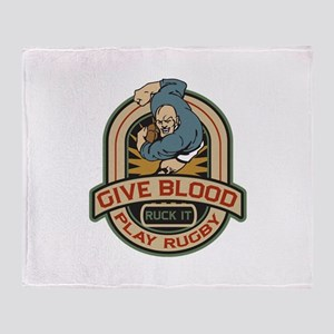 Give Blood Play Rugby Throw Blanket