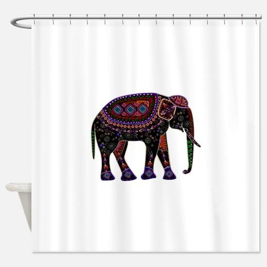 Tribal Metallic Elephant Shower Curtain