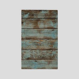 rustic western turquoise barn wood Area Rug