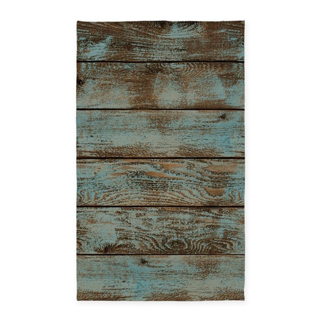 Rustic Western Turquoise Barn Wood Area Rug By ADMIN
