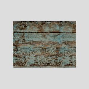 rustic western turquoise barn wood 5'x7'Area Rug