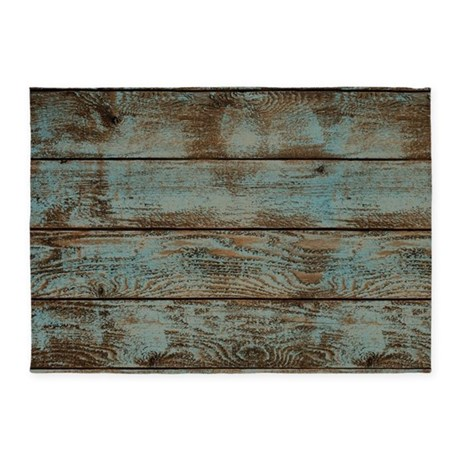 Rustic Western Turquoise Barn Wood 5 X7 Area Rug By Admin