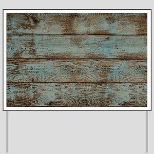 rustic western turquoise barn wood Yard Sign