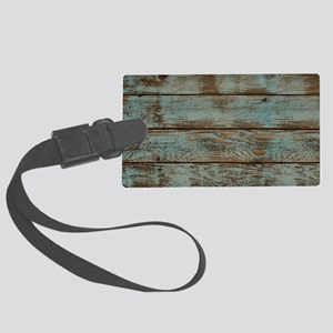 rustic western turquoise barn wo Large Luggage Tag