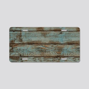 rustic western turquoise ba Aluminum License Plate