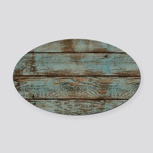 rustic western turquoise barn wood Oval Car Magnet