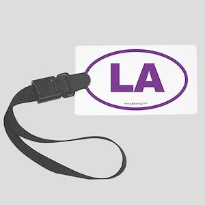Louisiana LA Euro Oval PURPLE Large Luggage Tag