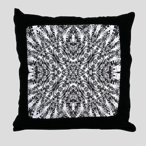 Tribal Shaman DMT Black White Throw Pillow