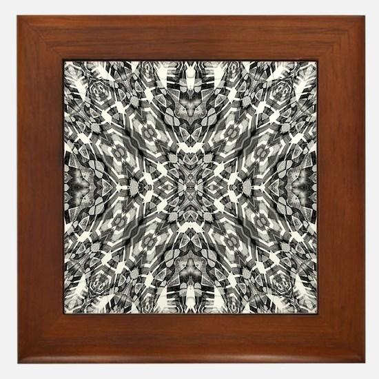 Tribal Shaman DMT Black White Framed Tile