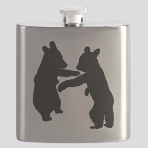 Bear Cubs Silhouette Flask