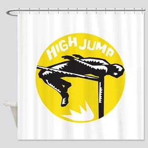 Track and Field Athlete High Jump Woodcut Shower C