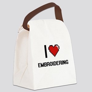 I love EMBROIDERING Canvas Lunch Bag