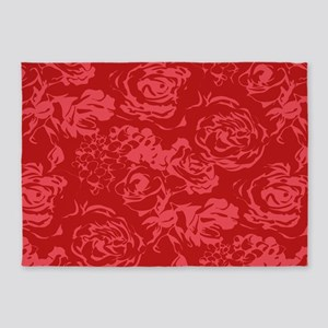 Red Floral Pattern 5'x7'Area Rug