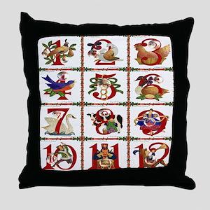 12 Days Of Christmas Throw Pillow
