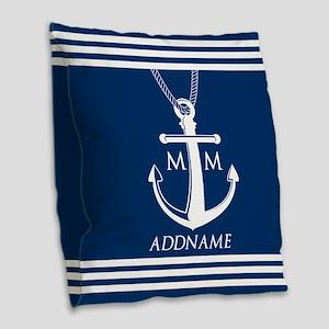 Navy Blue And White Nautical B Burlap Throw Pillow