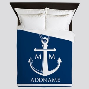 Navy Blue And White Nautical Boat Anch Queen Duvet