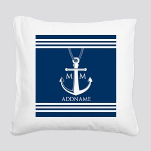 Navy Blue And White Nautical Square Canvas Pillow