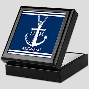 Navy Blue And White Nautical Boat Anc Keepsake Box