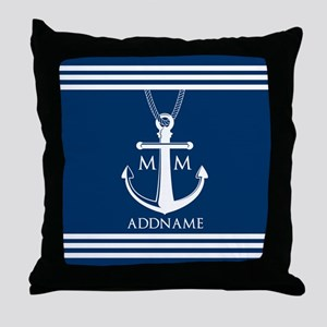 Navy Blue And White Nautical Boat Anc Throw Pillow