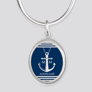Navy Blue And White Nautical Silver Oval Necklace