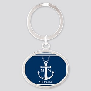 Navy Blue And White Nautical Boat An Oval Keychain