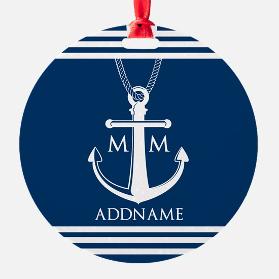 Navy Blue And White Nautical Boat A Ornament