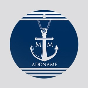 Navy Blue And White Nautical Boat Ornament (Round)