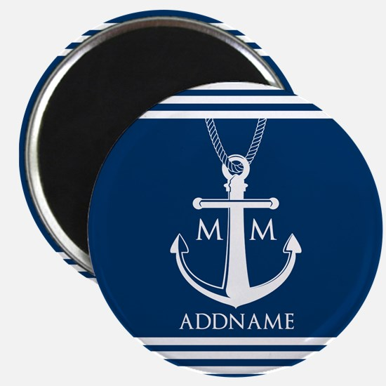 Navy Blue And White Nautical Boat Anchor Magnet
