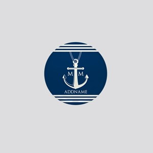 Navy Blue And White Nautical Boat Anch Mini Button