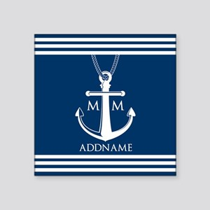 "Navy Blue And White Nautica Square Sticker 3"" x 3"""