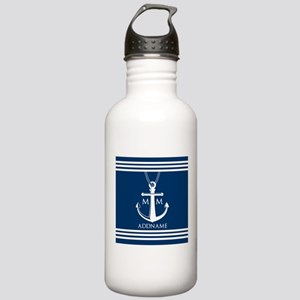 Navy Blue And White Na Stainless Water Bottle 1.0L