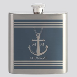 Navy Blue And White Nautical Boat Anchor Flask