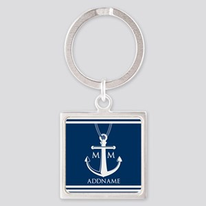 Navy Blue And White Nautical Boat Square Keychain