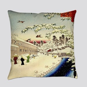 Vintage Japanese painting in Winter Everyday Pillo