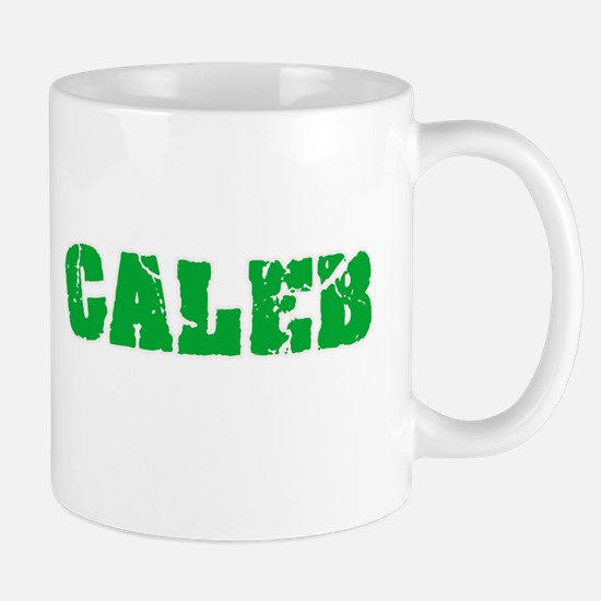 Caleb Name Weathered Green Design Mugs