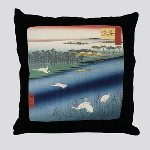 Vintage Japanese painting of cranes Throw Pillow