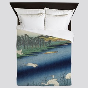 Vintage Japanese painting of cranes Queen Duvet