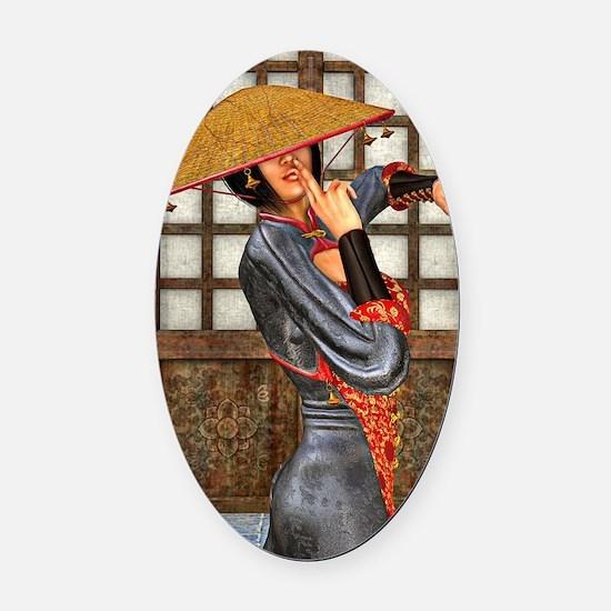 Asian Battle Woman Oval Car Magnet