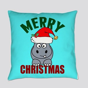 Hippo Christmas Everyday Pillow