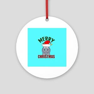 Hippo Christmas Round Ornament
