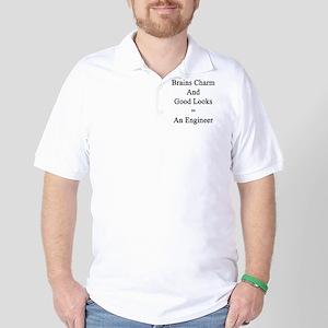 Brains Charm And Good Looks = An Engine Golf Shirt